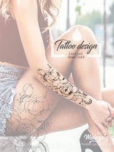 Load image into Gallery viewer, sexy oriental linework rose tatoo design