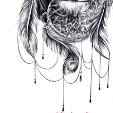 Load image into Gallery viewer, lion and dreamcatcher with pearl and feathers tattoo design references