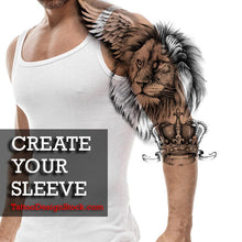 Load image into Gallery viewer, lion with wings and crown sleeve tattoo created by tattoodesignstock.com
