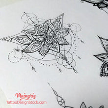 Load image into Gallery viewer, originals lotus mandala tattoo design created by tattoo artist