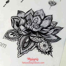 Load image into Gallery viewer, realistic lotus mandala tattoo design high resolution download