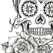 Load image into Gallery viewer, original sexy mexican skull tattoo with lace flowers and pearls in instant download
