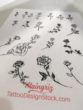 Load image into Gallery viewer, amazing minimalists roses under boob side boob tattoo design