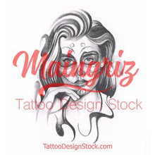 Load image into Gallery viewer, catrina tattoo design high resolution download created by tattoo artist