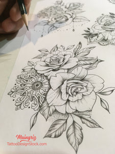 selection of thousands sexy roses tattoo designs created by artist