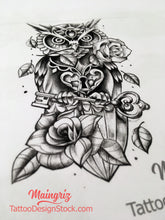 Load image into Gallery viewer, original owl tattoo design digital download by tattoo artist