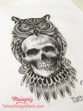 Load image into Gallery viewer, amazing owl with skull  for your custom sleeve tattoo design high resolution download by tattoo artist