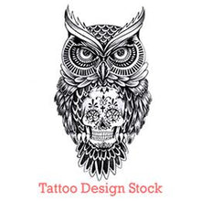 Load image into Gallery viewer, owl and sugar skull tattoo design digital download