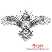 Load image into Gallery viewer, owl illuminati for chest tattoo design high quality digital download tattoo design