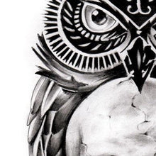 Load image into Gallery viewer, owl with skull tattoo design digital download by tattoo artist