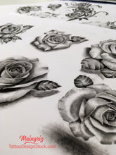 Load image into Gallery viewer, rose shoulder tattoo design high resolution download
