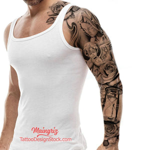 religious hourglass and roses chicano sleeve tattoo design high resolution download1