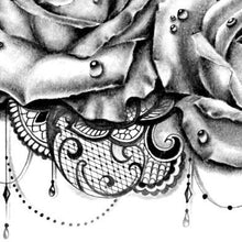 Load image into Gallery viewer, roses and clock with lace tattoo design