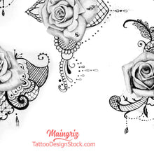 Load image into Gallery viewer, amazing roses and pearl with lace digital tattoo design references