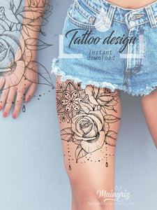 Roses and pearls mandala - tattoo design download #1