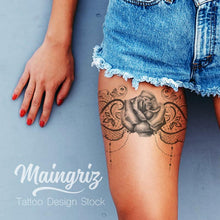 Load image into Gallery viewer, rose with lace garter download tattoo design