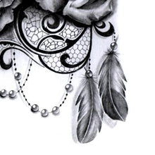 Load image into Gallery viewer, sexy lace and pearls feathers tattoo ideas references