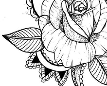 Load image into Gallery viewer, Sexy rose linework tattoo design high resolution download