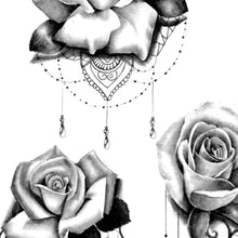 Load image into Gallery viewer, rose, lace and pearl tattoo designs high resolution download by tattoo artist