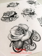 Load image into Gallery viewer, rose with lace and pearl tattoo design high resolution download by tattoodesignstock.com