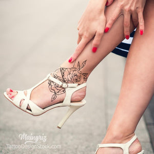 sexy flowers foot tattoo design high resolution download