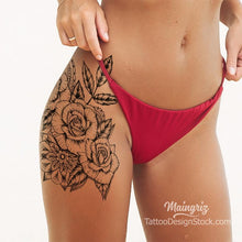 Load image into Gallery viewer, sexy roses line work tattoo for woman