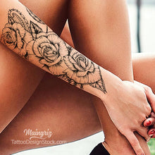 Load image into Gallery viewer, half sleeve roses forearm tattoo for girl
