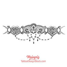 Load image into Gallery viewer, original lace garter with pearl tattoo design by tattoo artist