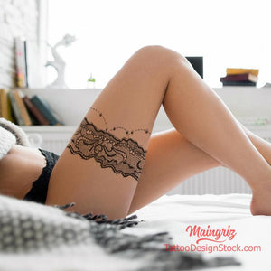 sexy lace garter tattoo design high resolution download