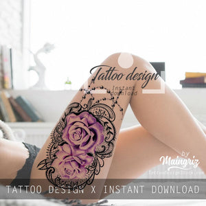 sexy rose with lace and pearl tattoo by tattoodesignstock