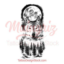 Load image into Gallery viewer, sexy wolf and moon design references digital download created by tattoo artist