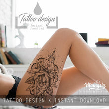 Load image into Gallery viewer, amazing sexy lace garter tattoos with rose and mandala for girls in instant download