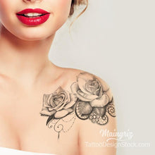 Load image into Gallery viewer, shoulder rose with lace and pearls tattoo design