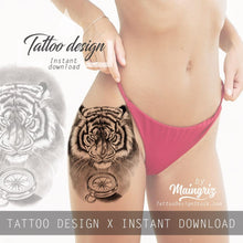 Load image into Gallery viewer, Realistic tiger and compass tatoo design high resolution download