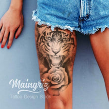 Load image into Gallery viewer, tiger and realistic rose leg tattoo design references