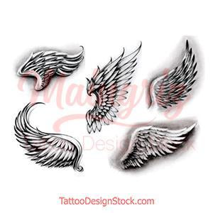 5 wings tattoo design high resolution download