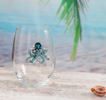 The Queens' Jewels Stemless Blue Octopus Wine Glass