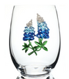 The Queens' Jewels Stemless Blue Bonnet Wine Glass