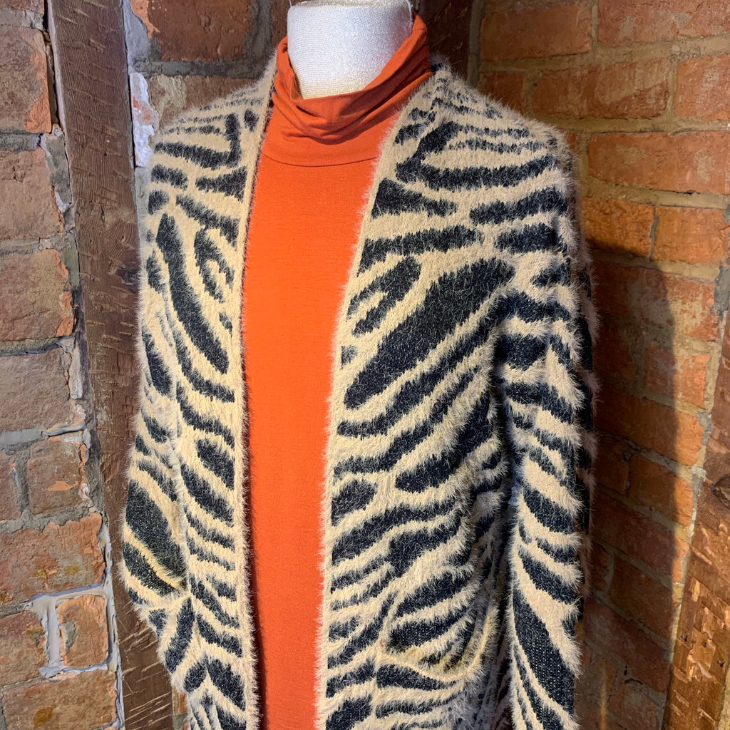 Tan/Black Animal Print Long Cardigan