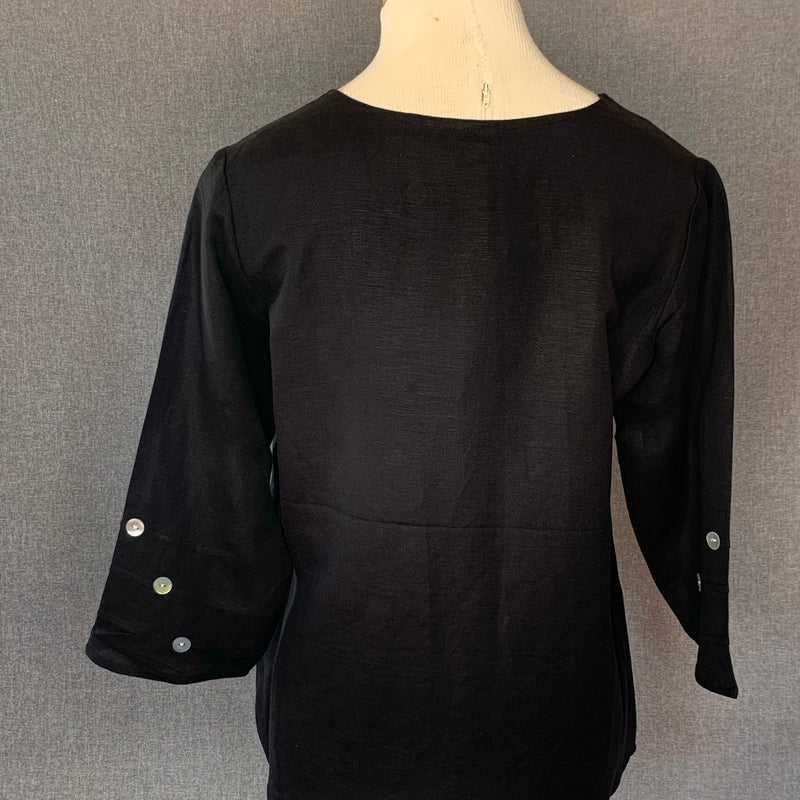 Too Fan Black Button Top
