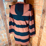 Elena Wang Bold Stripe Hooded Duster Length Cardigan