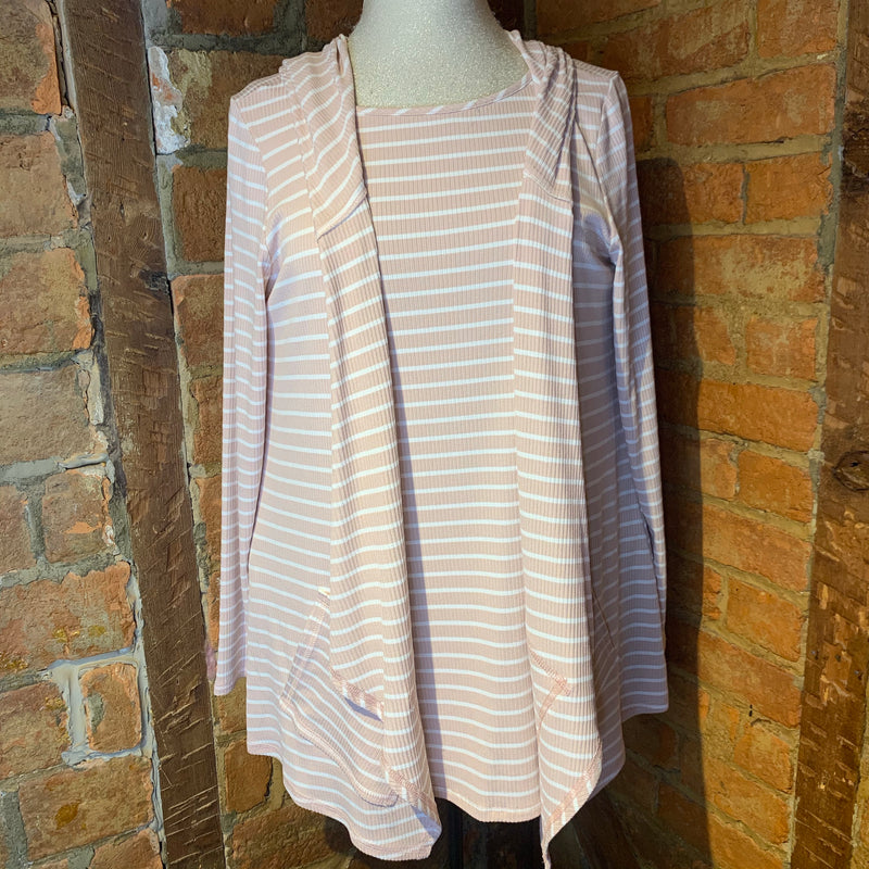 Pure Essence Blush Pink Striped Top