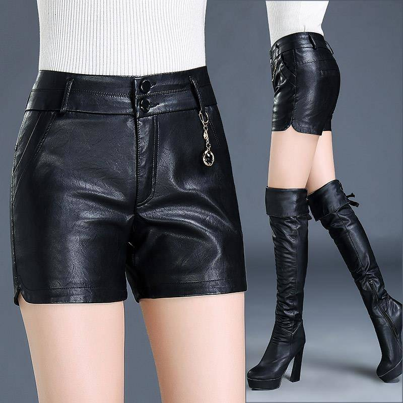 PU short leather pants