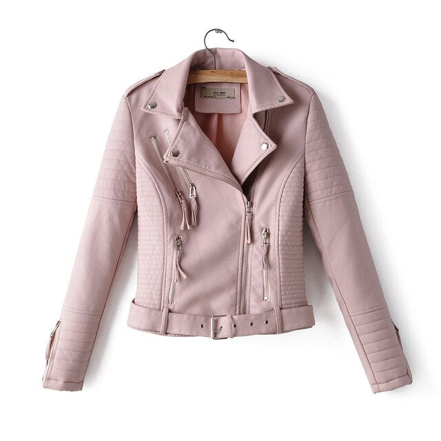 women faux leather jacket