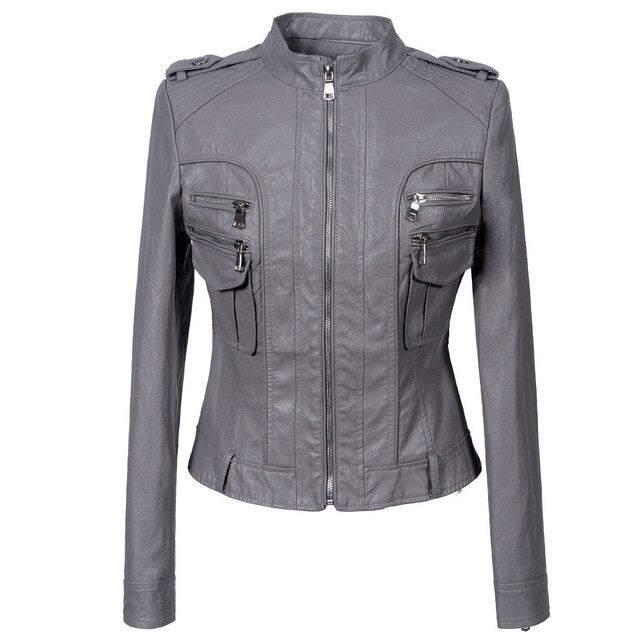 Motorcycle Biker Faux Leather Jacket