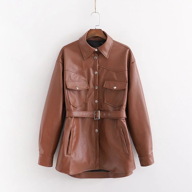 PU leather woman clothes