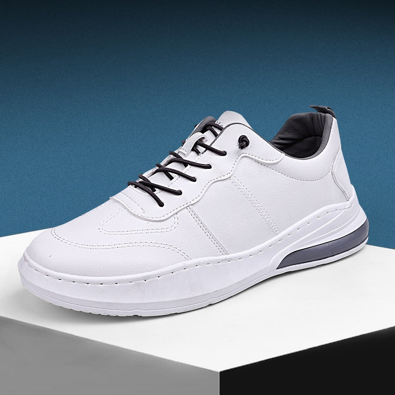 Casual Men White Leather Shoes