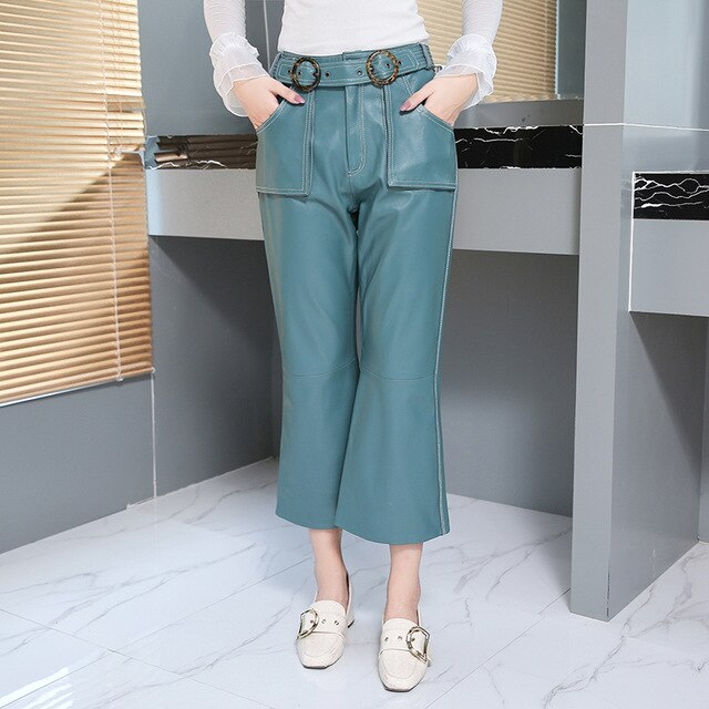 pure color Genuine Leather pants