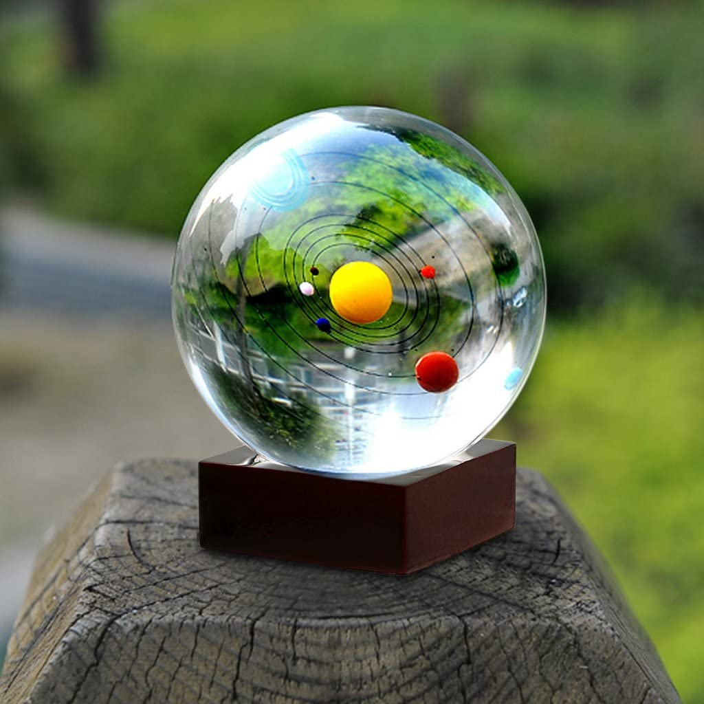 Solar System Crystal Ball with Wood Stand