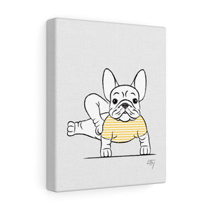 French Bulldog Yogi, Side Craw Pose, Yellow, Canvas